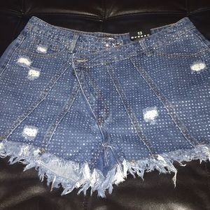 Fashionnova Bedazzled Distressed Denim shorts